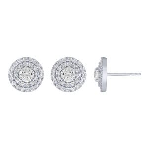 Novello-Collection 1.50 CT. T.W. Lab Grown Double Halo Earrings In 14K Gold