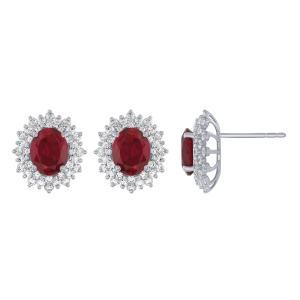 2CT. T.W. DIAMOND RUBY 8.15CT EARRINGS IN 14K GOLD
