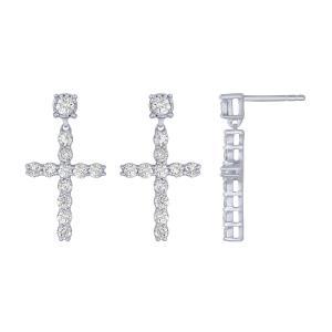 0.50 CT. T.W. Diamond Cross Earrings In 14K Gold