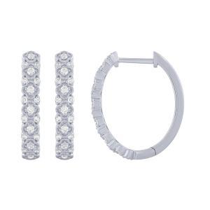 0.5 CT. T.W. Diamond Hoop Earrings In 14K Gold