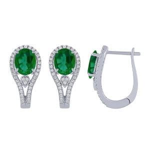 1/3 CT. T.W. Diamond and 2.00 CT Emerald Earrings In 14K Gold