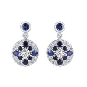 "0.8CT. T.W. DIAMOND ""Ovani®-COLLECTION"" 1-CT SAPPHIRE EARRINGS IN 18K GOLD"