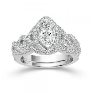 """1CT. CENTER AND 2CT. T.W. """"FABULOUS FANCY"""" DIAMOND BRIDAL SET IN 14K GOLD"""
