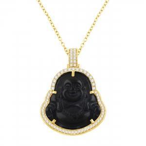 1CT. T.W. DIAMOND BLACK JADE BUDDHA PENDANT IN 10K GOLD