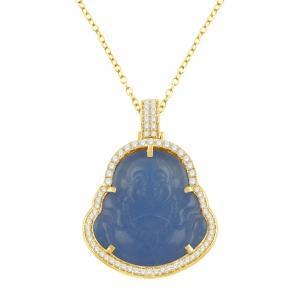 1CT. T.W. DIAMOND BLUE JADE BUDDHA PENDANT IN 10K GOLD