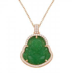 1CT. T.W. DIAMOND GREEN JADE BUDDHA PENDANT IN 10K GOLD