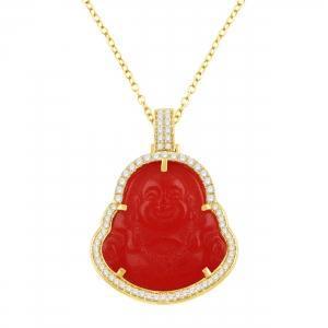 1CT. T.W. DIAMOND RED JADE BUDDHA PENDANT IN 10K GOLD