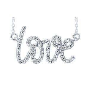 0.20 CT. T.W.  Diamond Love Pendant In 10K Gold