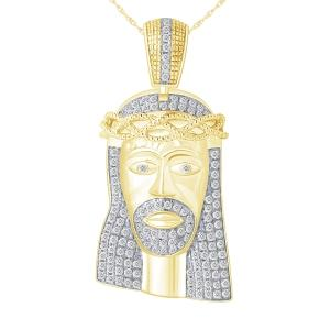Ovani®-22 1.05 CT. T.W. Diamond Jesus Face Pendant In 22K Gold