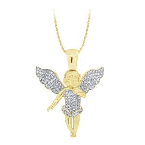 1.00 CT. T.W.  Diamond Angel Pendant In 10K Gold