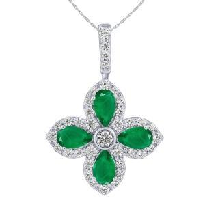 0.4CT. T.W. DIAMOND 0.75 CT EMERALD PENDANT IN 14K GOLD