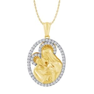 Ovani®-22 1.00 CT. T.W. Diamond Mary and Baby Jesus Pendant In 22K Gold