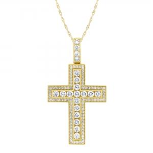 Ovani®-22 5.00 CT. T.W. Diamond Cross Pendant In 22K Gold