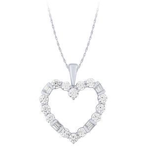 1.00 CT. T.W.  Heart Diamond Pendant In 14K Gold