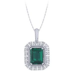 0.1CT. T.W. DIAMOND 2.50 CT EMERALD PENDANT IN 14K GOLD