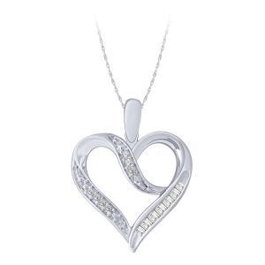 0.08CT. T.W. DIAMOND HEART BAGUETTE PENDANT IN 10K GOLD