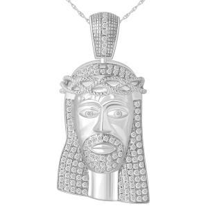 1.05 CT. T.W.  Diamond Jesus Face Pendant In 10K Gold