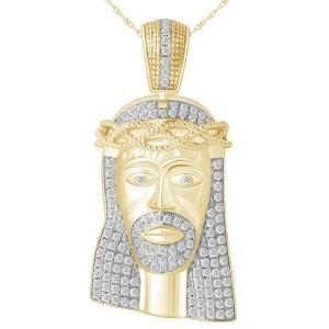 1.05 CT. T.W.  Diamond Jesus Face Pendant In 10K Gold