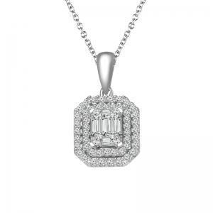 0.5CT. T.W. DIAMOND TIME SQUARE PENDANT IN 14K GOLD