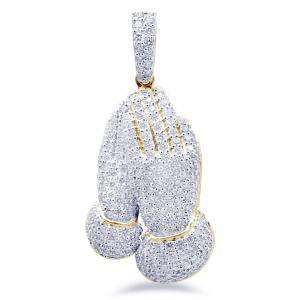 3.39CT. T.W. DIAMOND PRAYER HANDS PENDANT IN 14K GOLD