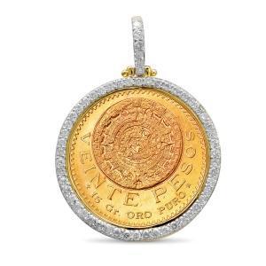 1.5CT. T.W. DIAMOND BEZEL PENDANT IN 14K YELLOW GOLD HOLDING VEINTE-PESOS COIN IN 22K GOLD