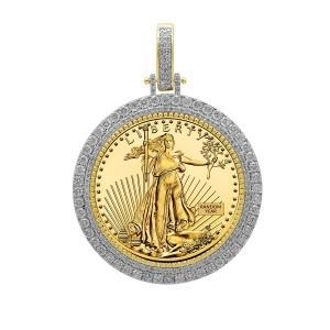 2.77CT. T.W. DIAMOND BEZEL PENDANT IN 14K YELLOW GOLD HOLDING LIBERTY COIN IN 22K GOLD