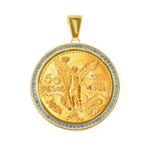 1.5CT. T.W. DIAMOND BEZEL PENDANT IN 14K YELLOW GOLD HOLDING 50-PESOS CENTENARIO COIN IN 22K GOLD