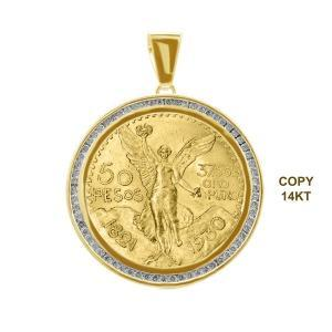 1.5CT. T.W. DIAMOND BEZEL PENDANT HOLDING 50-PESOS CENTENARIO (COPY) COIN IN 14K GOLD