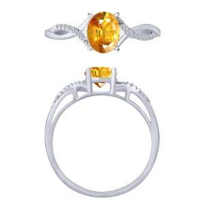 0.04CT. T.W. DIAMOND CR CITRINE RING IN 10K GOLD
