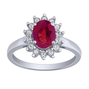 0.1 CT. T.W. Diamond and 1.80 CT Ruby Ring In 14K Gold