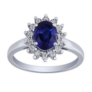 0.1 CT. T.W. Diamond and 1.60 CT Blue-Sapphire Ring In 14K Gold