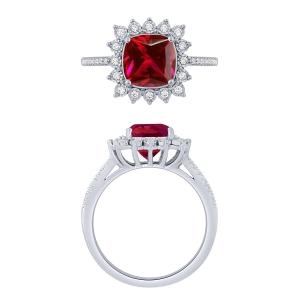 0.2 CT. T.W. Diamond and 3.35 CT Ruby Ring In 14K Gold