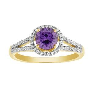 0.2 CT. T.W. Created Amethyst Ring In 10K Gold