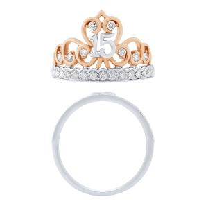 Sweet 15 Girls 0.33 CT. T.W. Diamond Crown Ring In 14K Gold