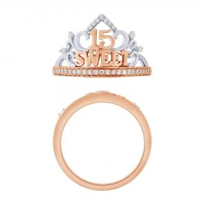 Sweet 15 Girls 0.20 CT. T.W. Diamond Crown Ring In 14K Gold