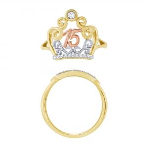 Sweet 15 Girls 0.10 CT. T.W. Diamond Crown Tri Color Ring In 14K Gold