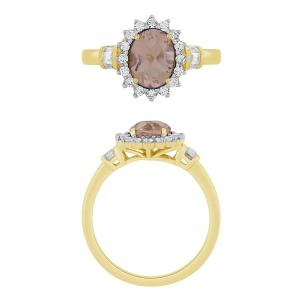 0.25CT. T.W. DIAMOND CREATED MORGANITE RING IN 10K GOLD