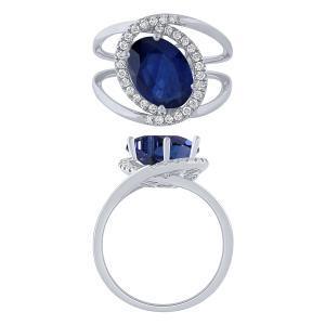 0.27CT. T.W. DIAMOND SAPPHIRE 2.00 CT RING IN 14K GOLD