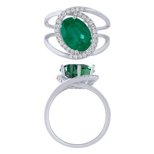 0.27 CT. T.W. Diamond and Emerald 1.16 CT Ring In 14K Gold