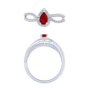 0.15CT. T.W. DIAMOND RUBY 1.25 CT RING IN 14K GOLD