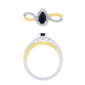 0.15 CT. T.W.  Diamond and 1.25 CT Sapphire Ring In 14K Gold