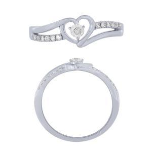0.20 CT. T.W.  Diamond Heart Promise Ring In 14K Gold
