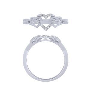 0.05 CT. T.W.  Diamond Heart Promise Ring In 14K Gold