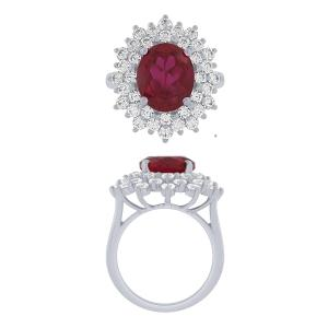 Diani® Collection 2 CT. T.W. Diamond and 6.85 CT Ruby Pendant In 14K Gold