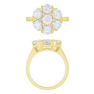 """2.8CT. T.W. """"NOVELLO-COLLECTION"""" LAB GROWN DIAMOND 7STONE FLOWER RING IN 14K GOLD"""
