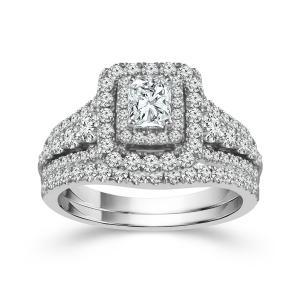 """1.25CT. CENTER AND 2CT. T.W. """"FABULOUS FANCY"""" DIAMOND BRIDAL SET IN 14K GOLD"""