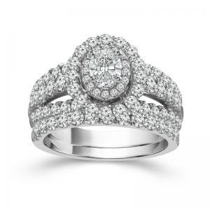 """1.38CT. CENTER AND 1.88CT. T.W. """"FABULOUS FANCY"""" DIAMOND BRIDAL SET IN 14K GOLD"""