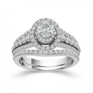 """1CT. CENTER AND 1.5CT. T.W. """"FABULOUS FANCY"""" DIAMOND BRIDAL SET IN 14K GOLD"""