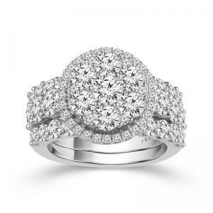 4.5CT. T.W. DIAMOND DIA. HALO BRIDAL SET IN 14K GOLD